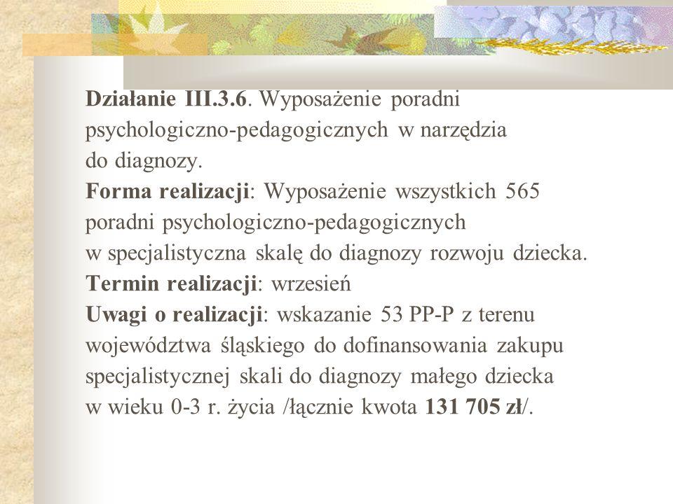 Działanie III.3.6. Wyposażenie poradni
