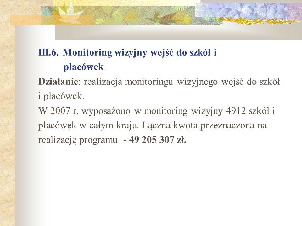 III.6. Monitoring wizyjny wejść do szkół i