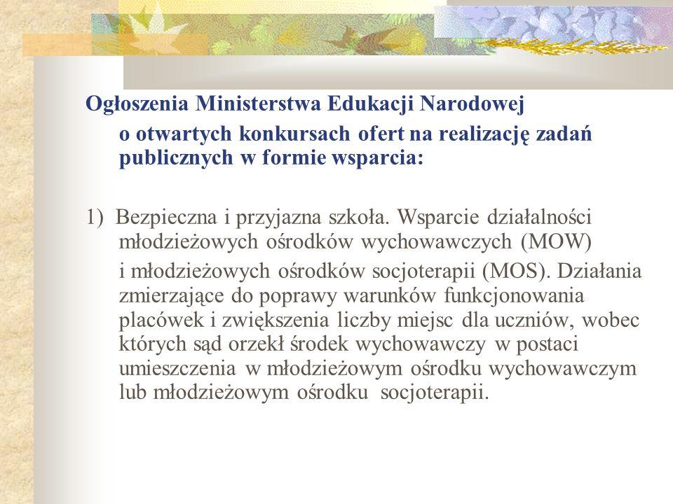 Ogłoszenia Ministerstwa Edukacji Narodowej