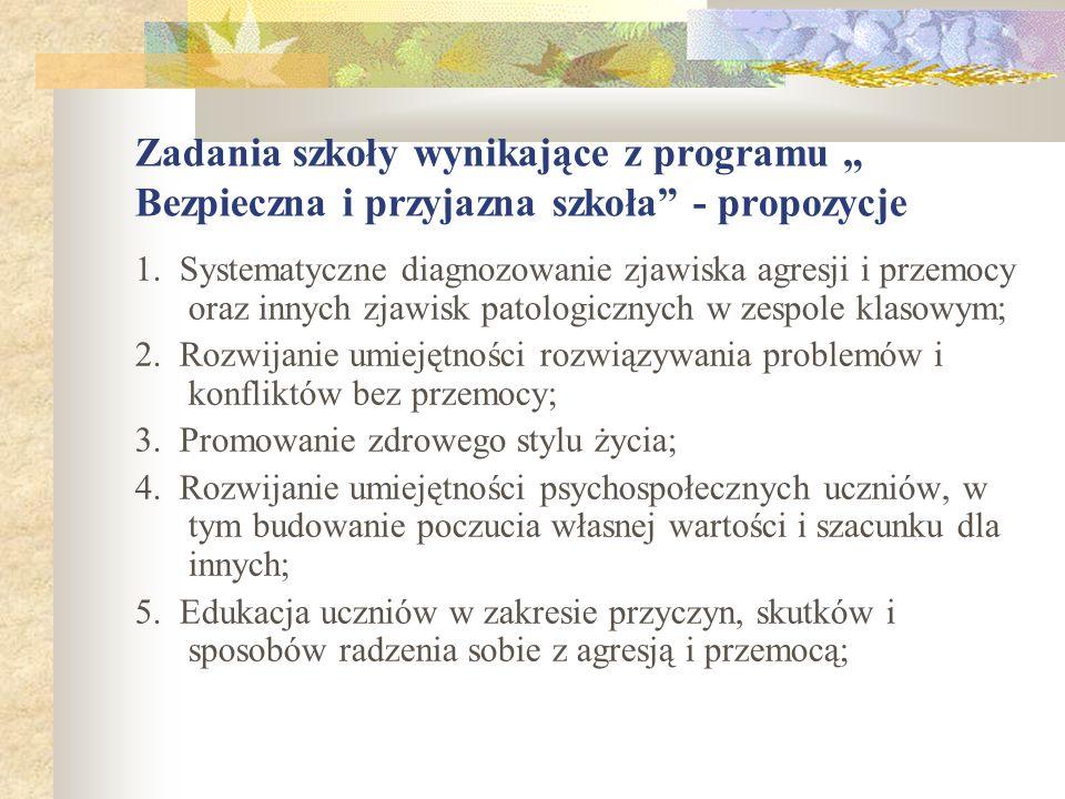 """Zadania szkoły wynikające z programu """" Bezpieczna i przyjazna szkoła - propozycje"""