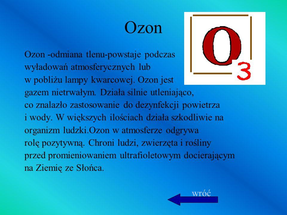 Ozon Ozon -odmiana tlenu-powstaje podczas