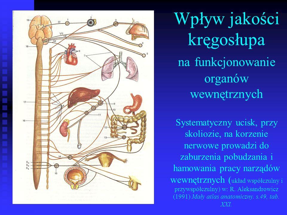 Wpływ jakości kręgosłupa na funkcjonowanie organów wewnętrznych Systematyczny ucisk, przy skoliozie, na korzenie nerwowe prowadzi do zaburzenia pobudzania i hamowania pracy narządów wewnętrznych (układ współczulny i przywspółczulny) w: R.