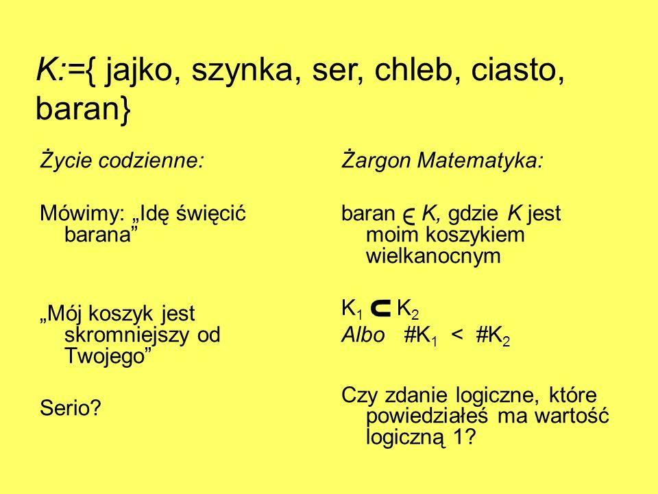 K:={ jajko, szynka, ser, chleb, ciasto, baran}