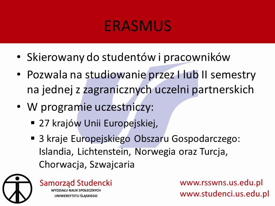 ERASMUS Skierowany do studentów i pracowników