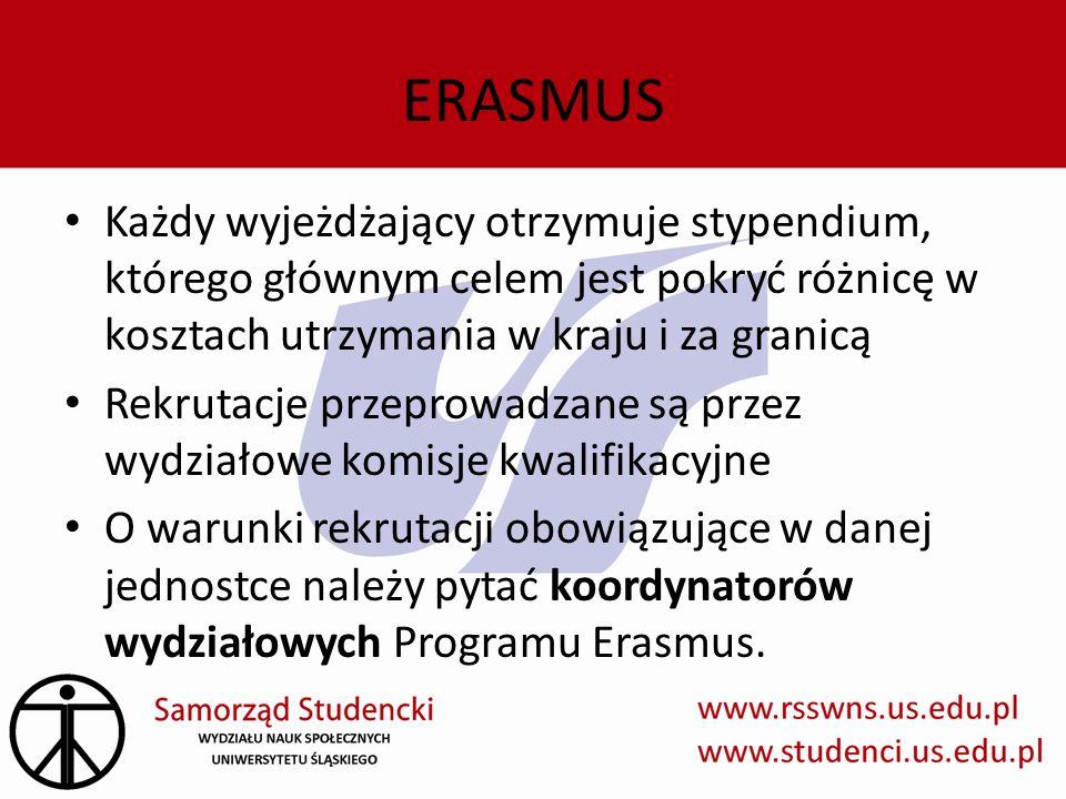 ERASMUS Każdy wyjeżdżający otrzymuje stypendium, którego głównym celem jest pokryć różnicę w kosztach utrzymania w kraju i za granicą.