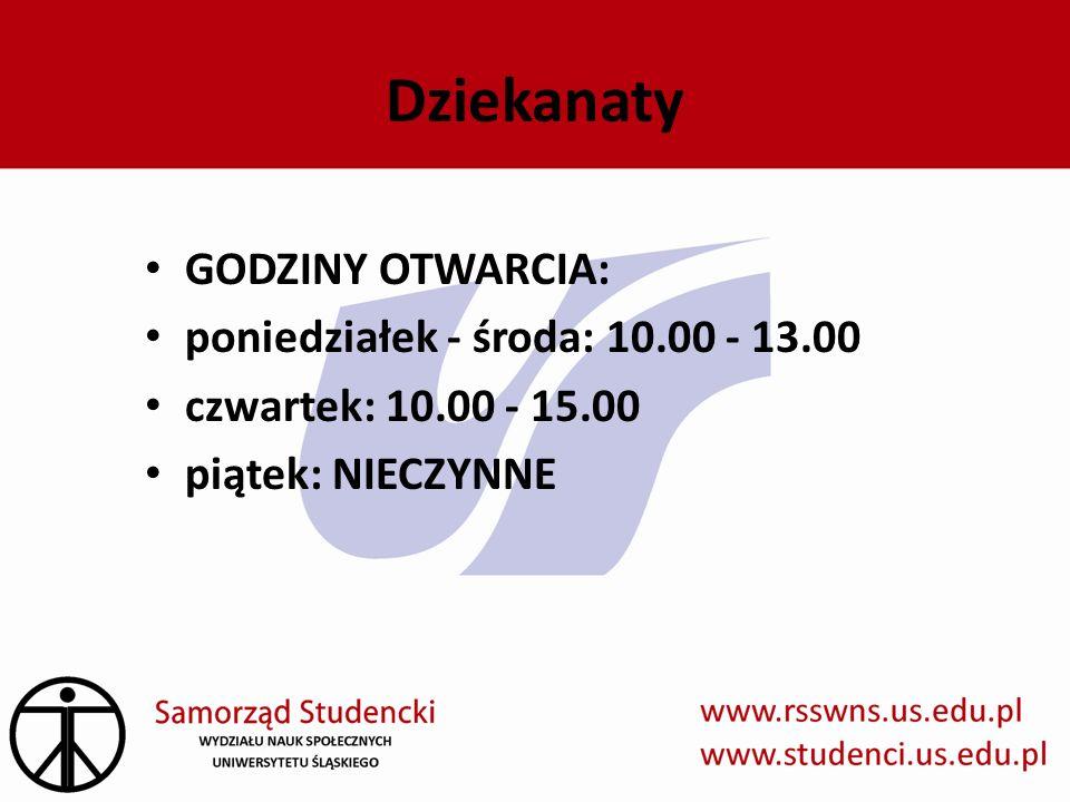 Dziekanaty GODZINY OTWARCIA: poniedziałek - środa: 10.00 - 13.00