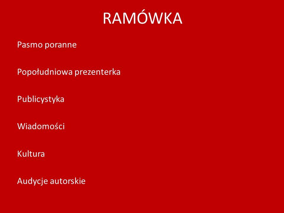 RAMÓWKA Pasmo poranne Popołudniowa prezenterka Publicystyka Wiadomości Kultura Audycje autorskie