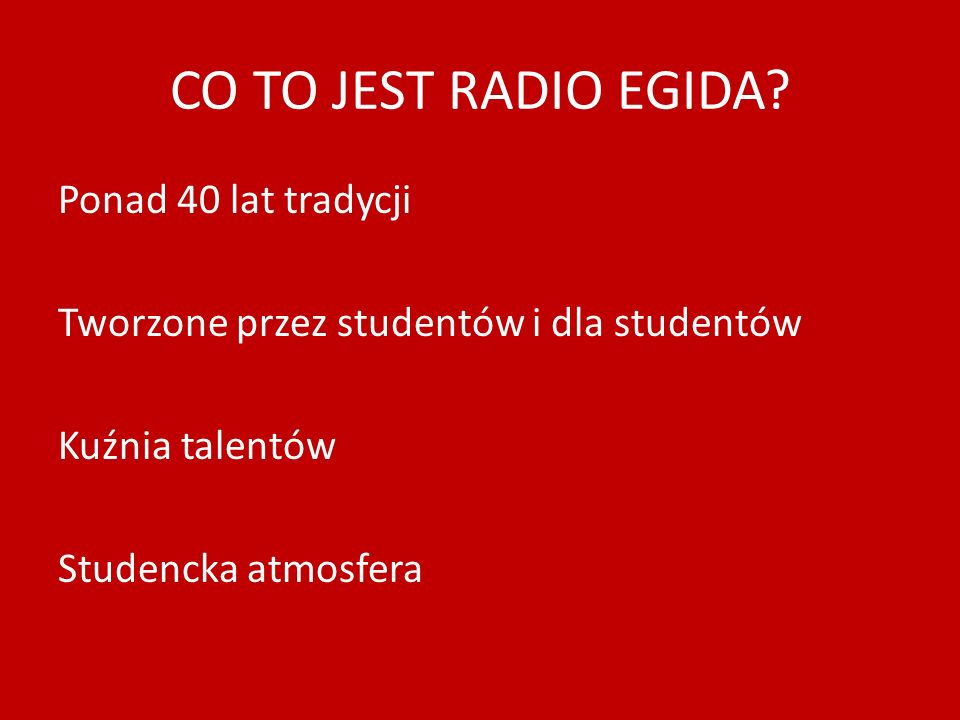 CO TO JEST RADIO EGIDA.