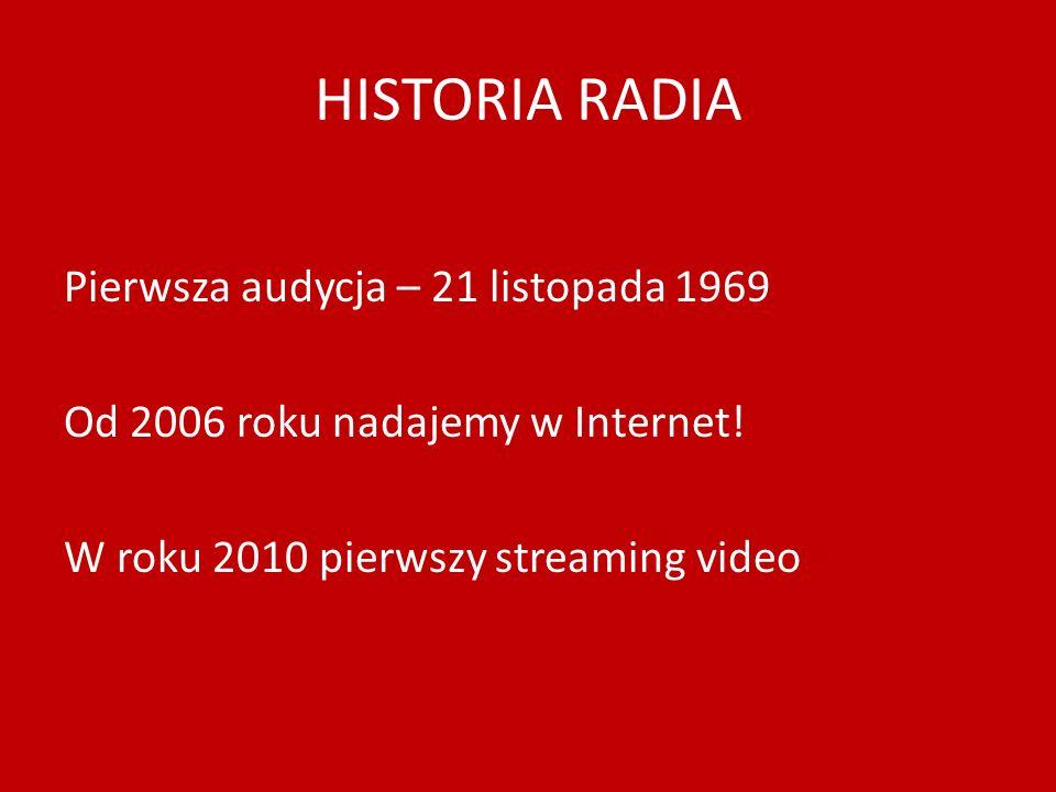 HISTORIA RADIA Pierwsza audycja – 21 listopada 1969 Od 2006 roku nadajemy w Internet.