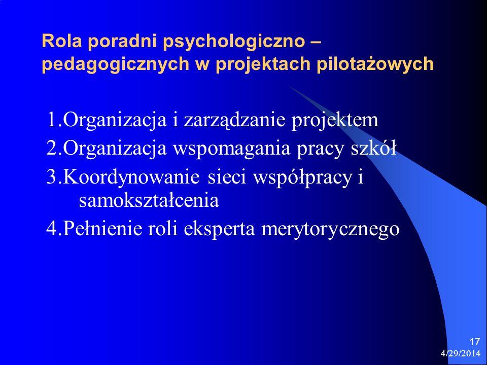 Rola poradni psychologiczno – pedagogicznych w projektach pilotażowych