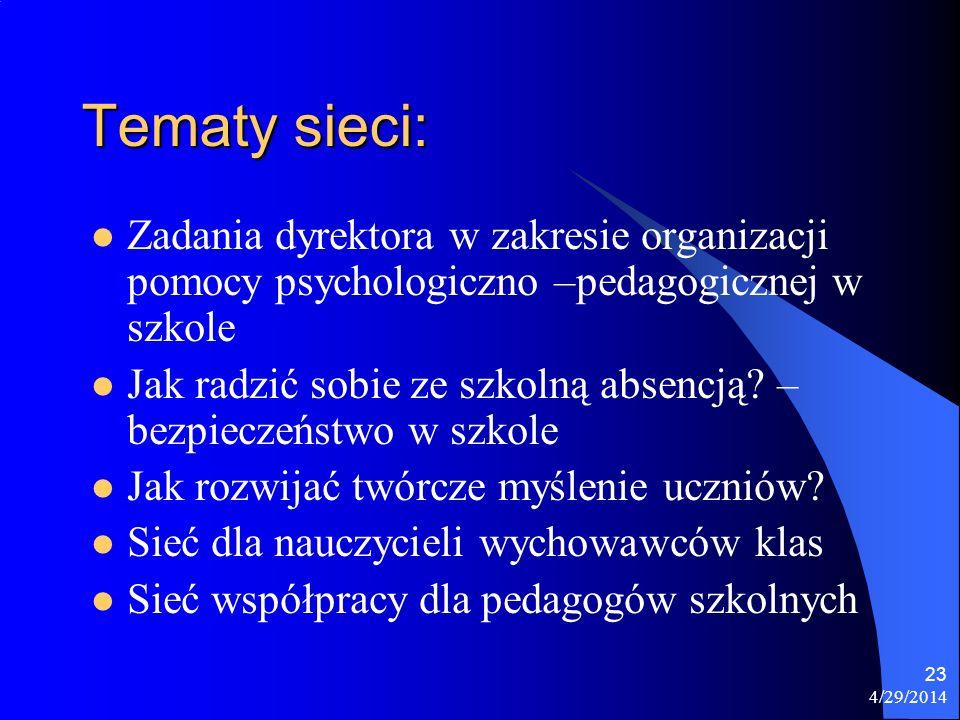 Tematy sieci: Zadania dyrektora w zakresie organizacji pomocy psychologiczno –pedagogicznej w szkole.
