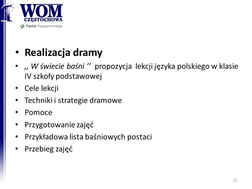 Realizacja dramy ,, W świecie baśni '' propozycja lekcji języka polskiego w klasie IV szkoły podstawowej.