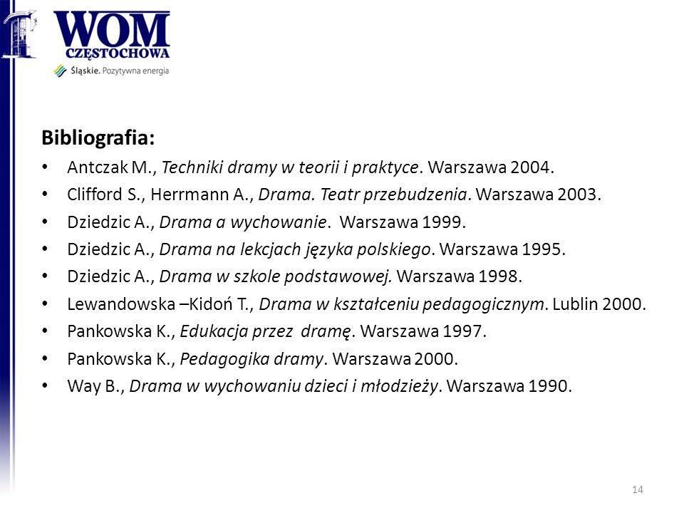 Bibliografia: Antczak M., Techniki dramy w teorii i praktyce. Warszawa 2004. Clifford S., Herrmann A., Drama. Teatr przebudzenia. Warszawa 2003.