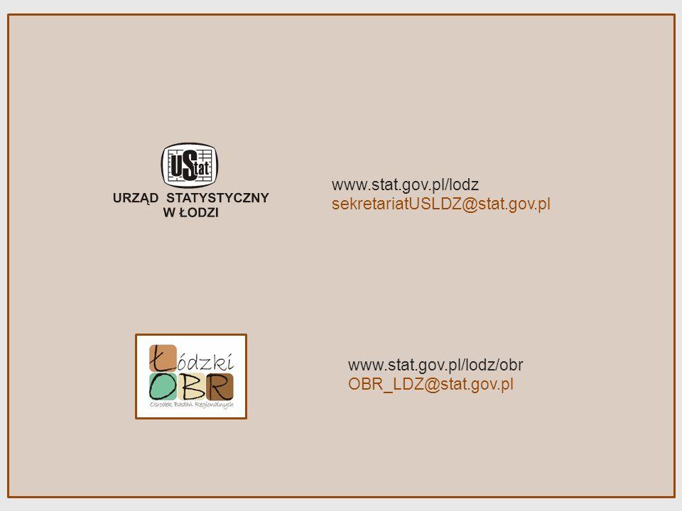 www.stat.gov.pl/lodz sekretariatUSLDZ@stat.gov.pl www.stat.gov.pl/lodz/obr OBR_LDZ@stat.gov.pl