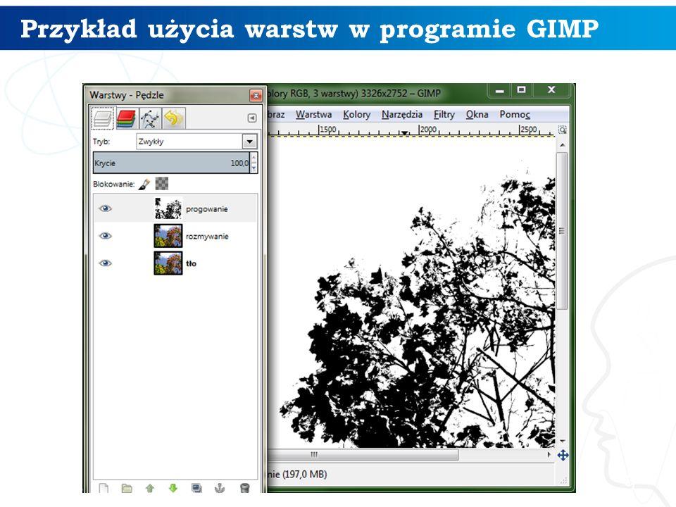 Przykład użycia warstw w programie GIMP