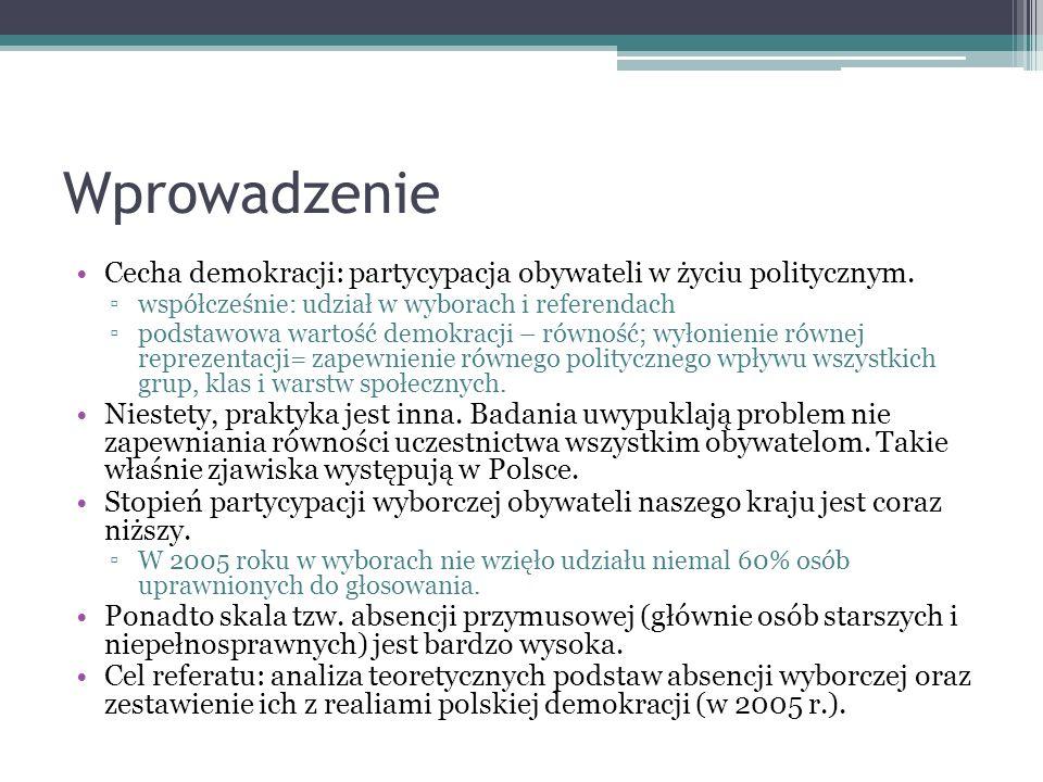 Wprowadzenie Cecha demokracji: partycypacja obywateli w życiu politycznym. współcześnie: udział w wyborach i referendach.
