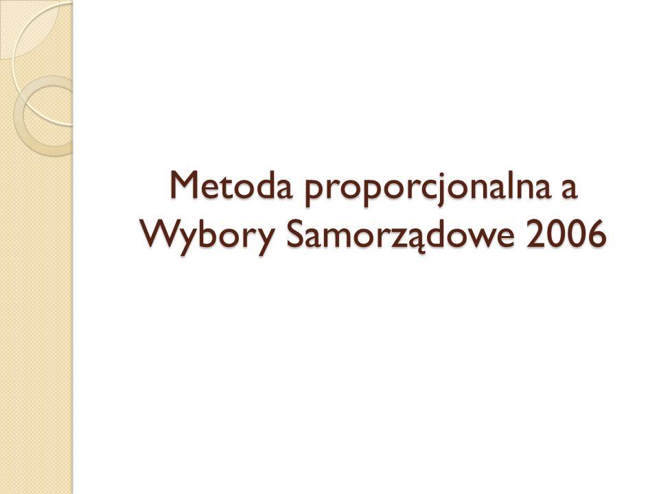 Metoda proporcjonalna a Wybory Samorządowe 2006