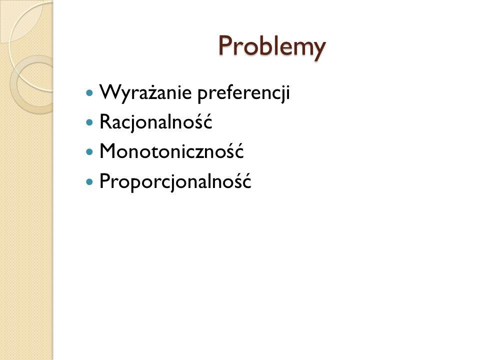 Problemy Wyrażanie preferencji Racjonalność Monotoniczność