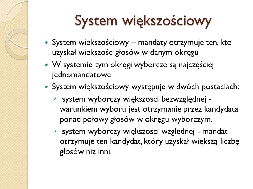 System większościowy System większościowy – mandaty otrzymuje ten, kto uzyskał większość głosów w danym okręgu.
