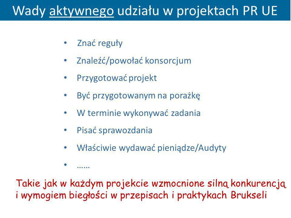 Wady aktywnego udziału w projektach PR UE