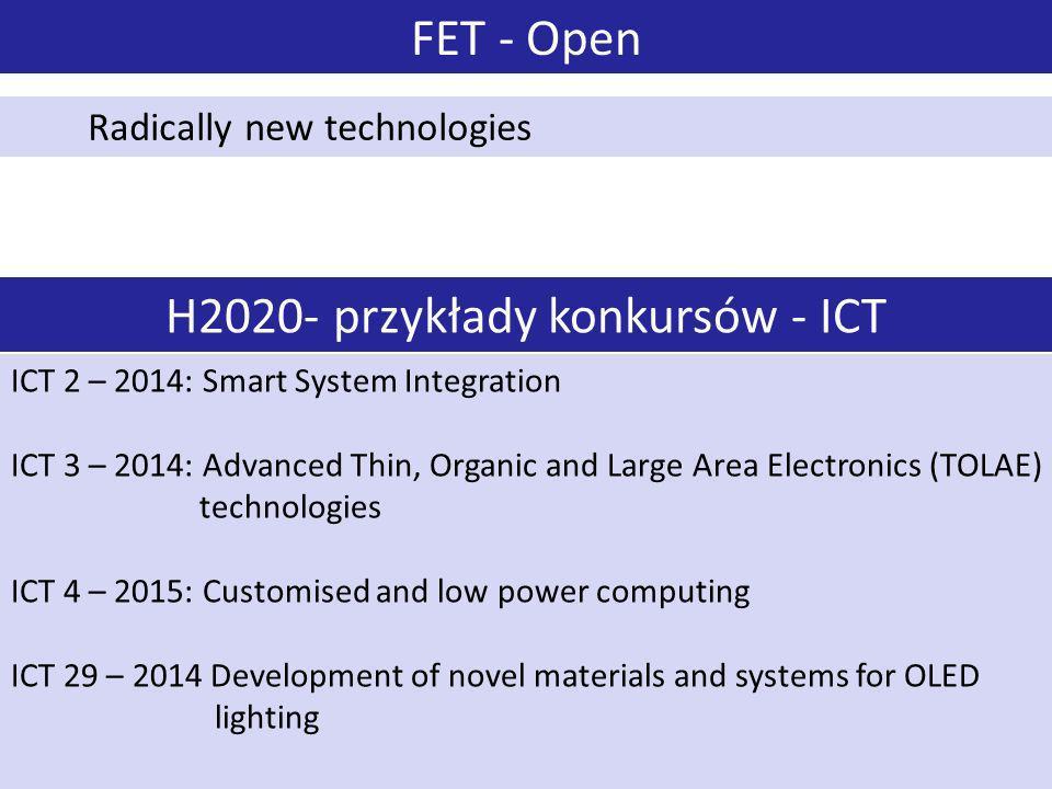 H2020- przykłady konkursów - ICT