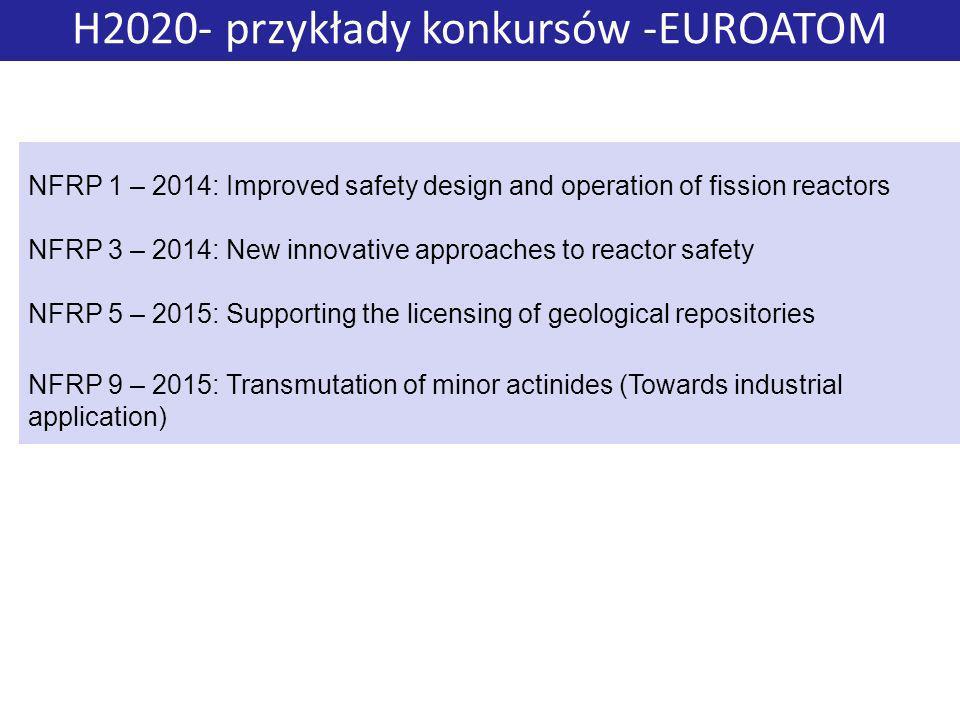 H2020- przykłady konkursów -EUROATOM