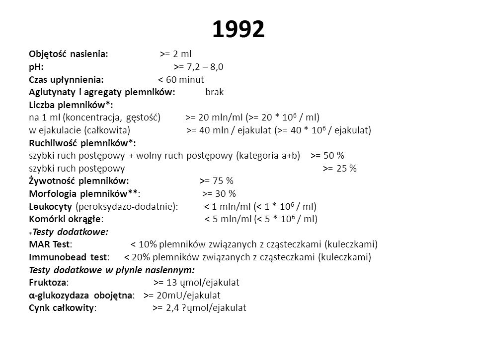 1992 Objętość nasienia: >= 2 ml pH: >= 7,2 – 8,0