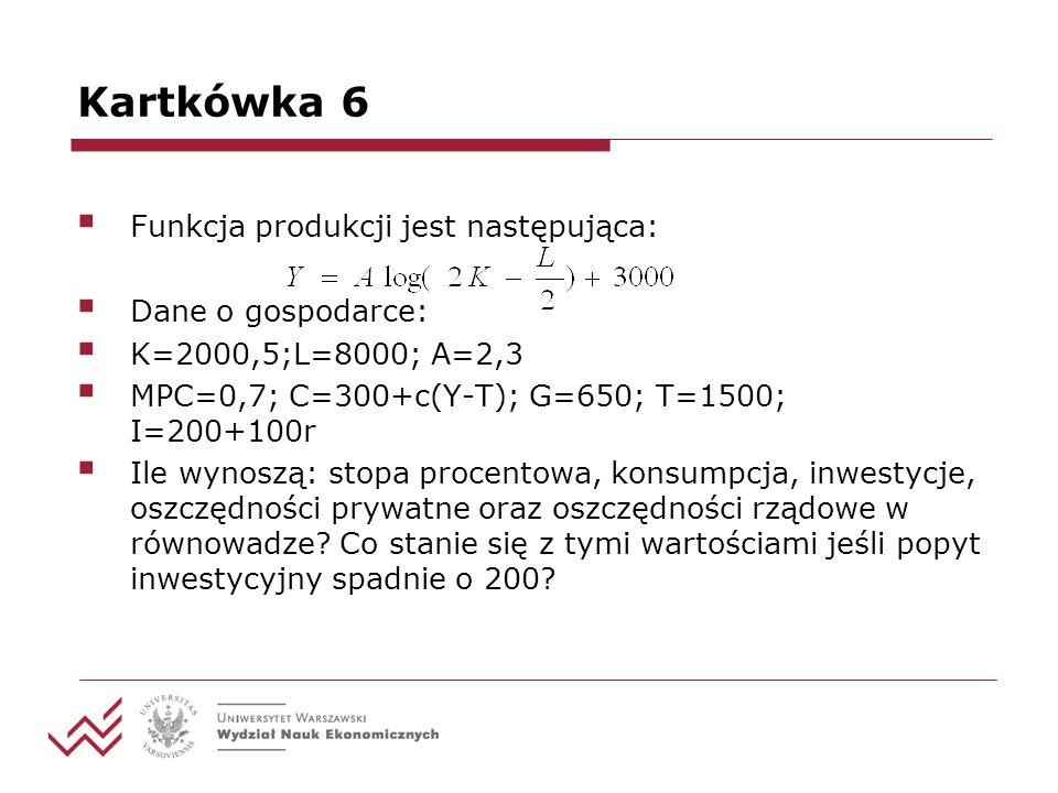 Kartkówka 6 Funkcja produkcji jest następująca: Dane o gospodarce: