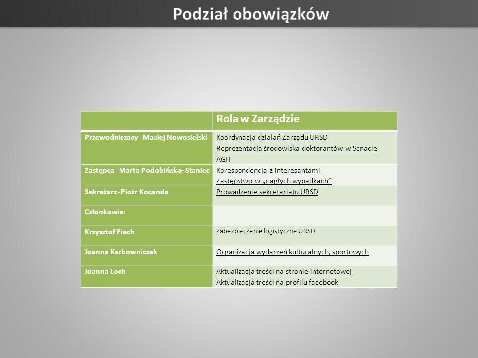 Podział obowiązków Rola w Zarządzie