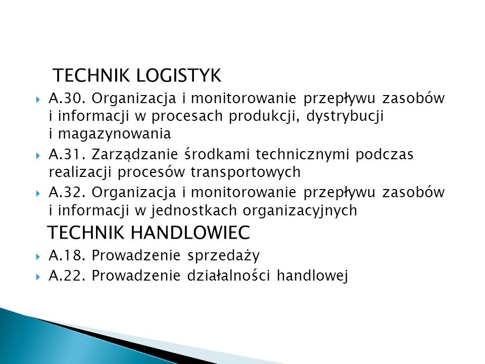TECHNIK LOGISTYK TECHNIK HANDLOWIEC