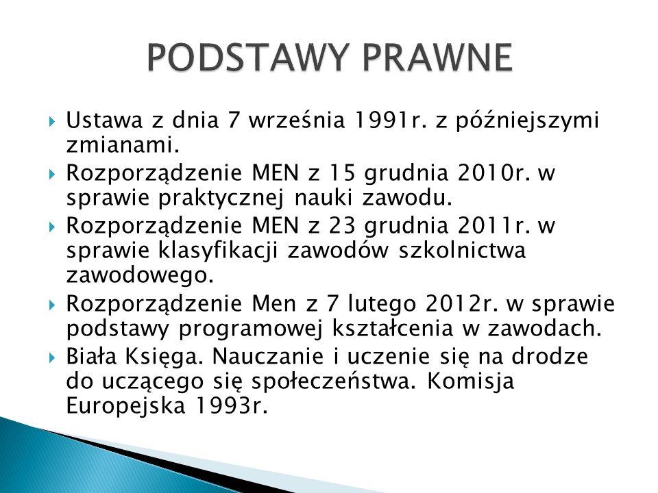 PODSTAWY PRAWNE Ustawa z dnia 7 września 1991r. z późniejszymi zmianami.