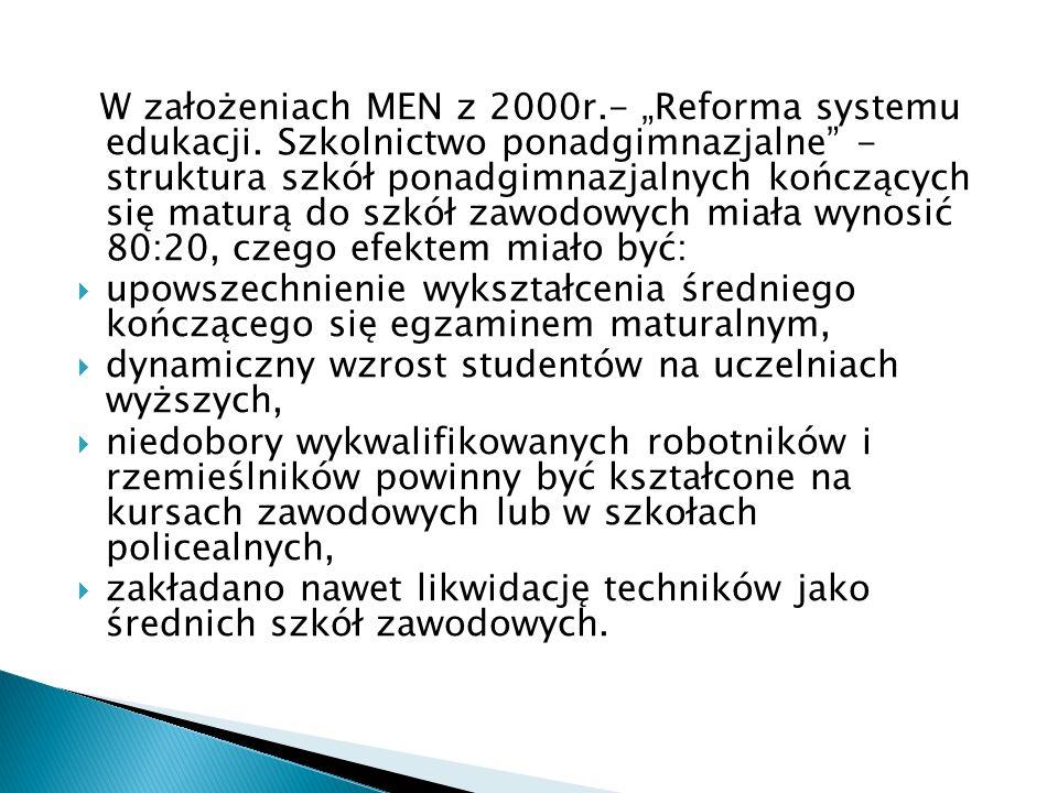 """W założeniach MEN z 2000r. - """"Reforma systemu edukacji"""
