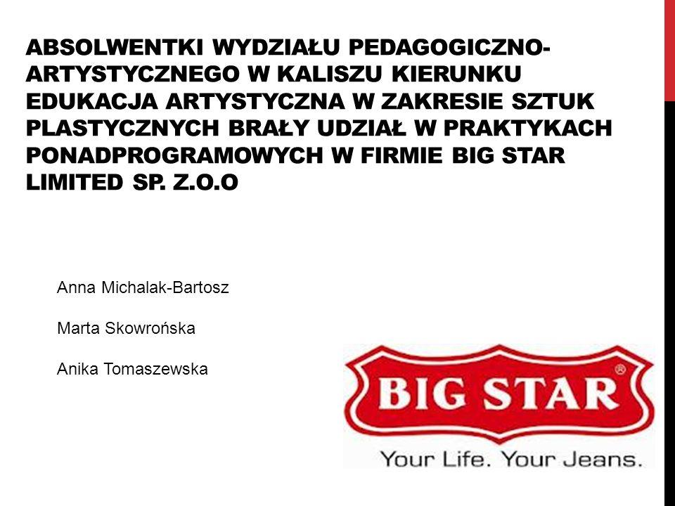 Absolwentki Wydziału Pedagogiczno-Artystycznego w Kaliszu kierunku Edukacja artystyczna w zakresie sztuk plastycznych brały udział w praktykach ponadprogramowych w firmie Big Star Limited sp. Z.o.o