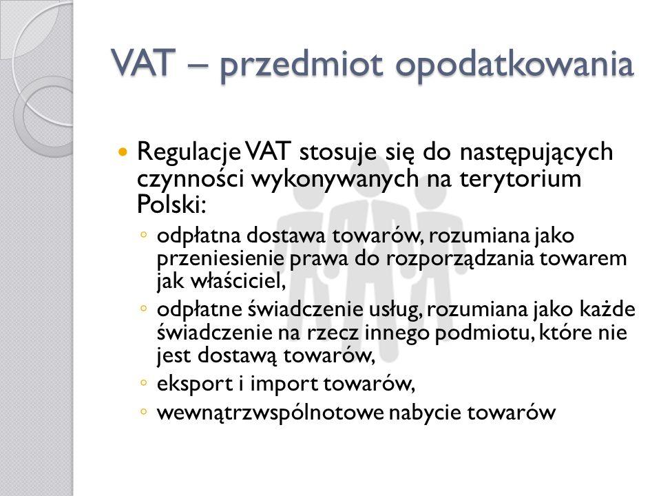 VAT – przedmiot opodatkowania