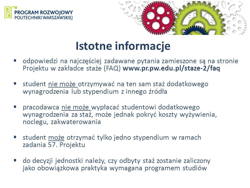 Istotne informacje odpowiedzi na najczęściej zadawane pytania zamieszone są na stronie Projektu w zakładce staże (FAQ) www.pr.pw.edu.pl/staze-2/faq.