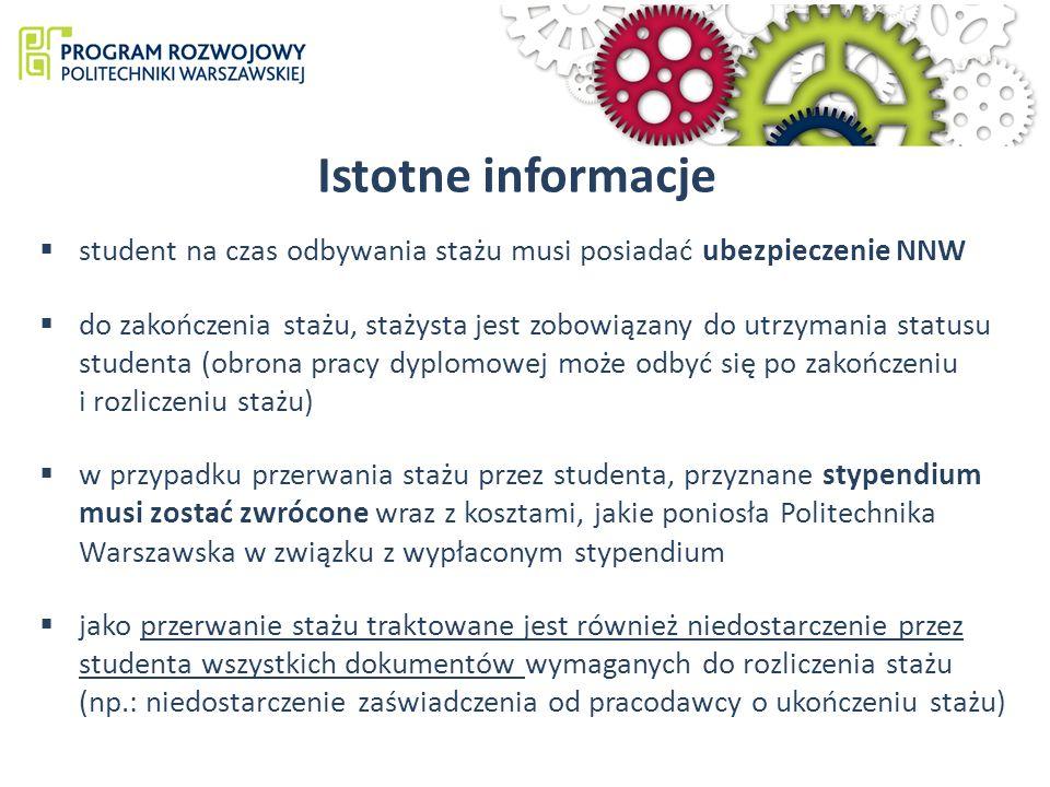 Istotne informacje student na czas odbywania stażu musi posiadać ubezpieczenie NNW.