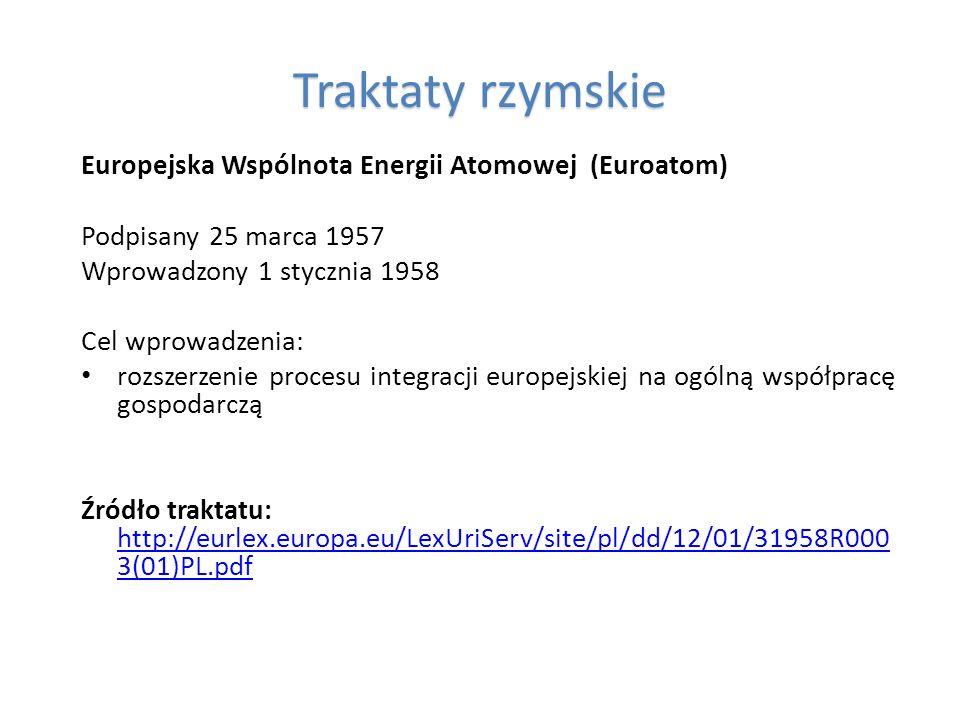 Traktaty rzymskie Europejska Wspólnota Energii Atomowej (Euroatom)