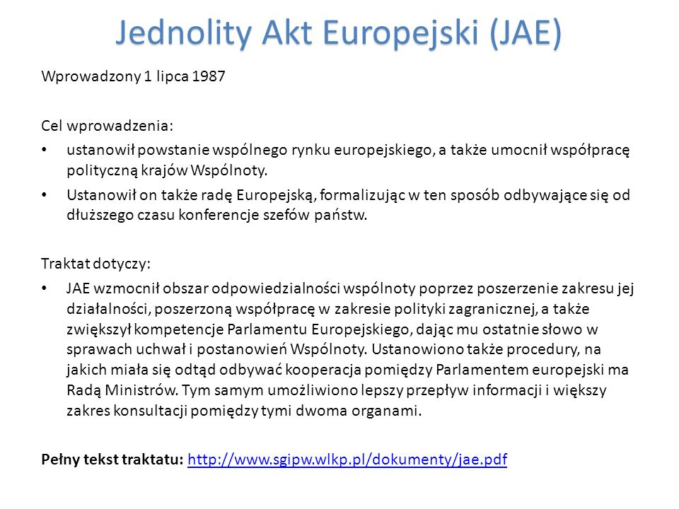 Jednolity Akt Europejski (JAE)