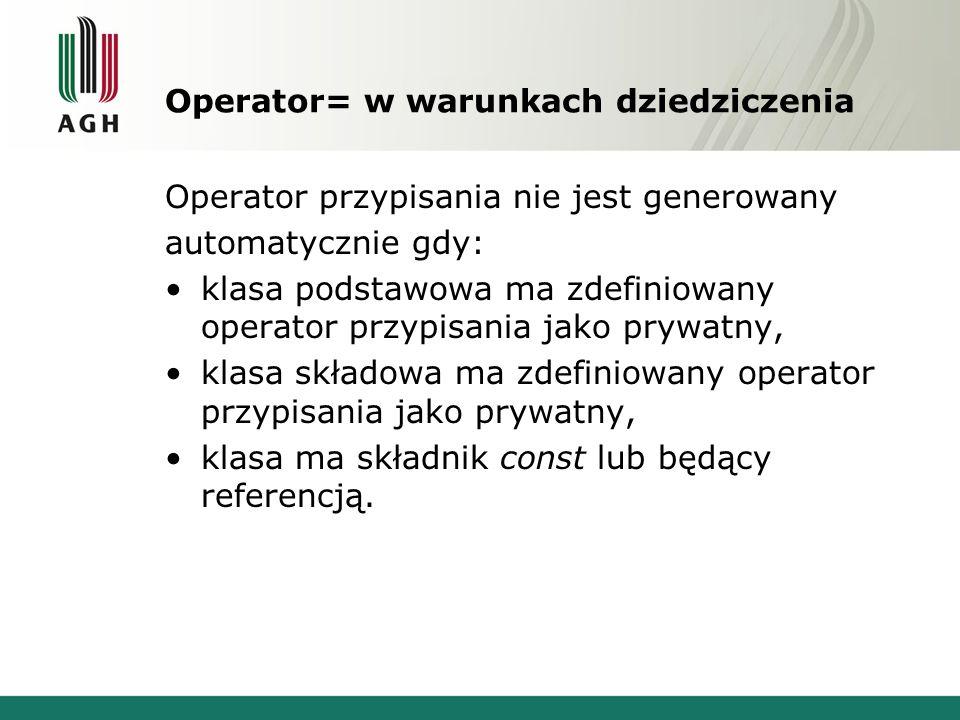 Operator= w warunkach dziedziczenia
