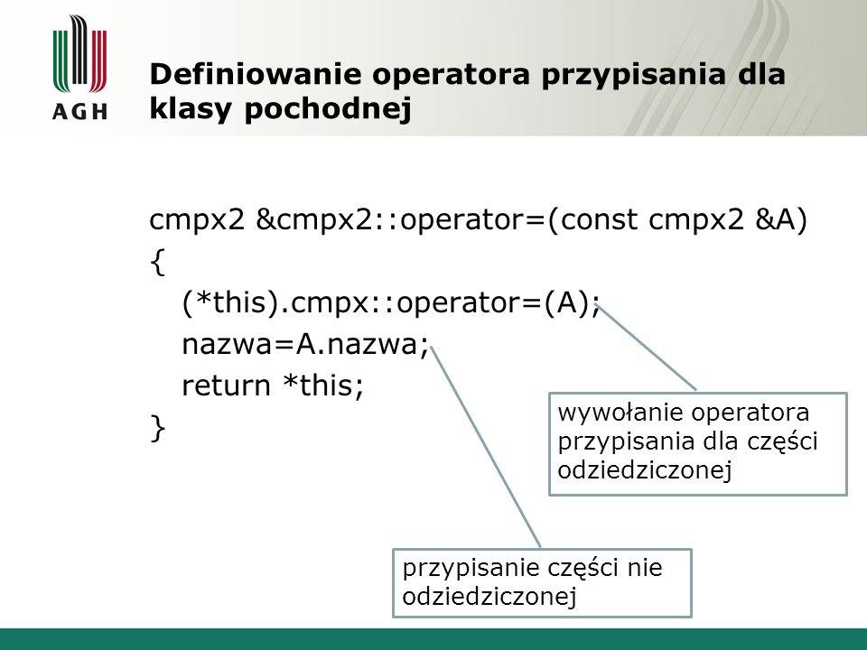 Definiowanie operatora przypisania dla klasy pochodnej