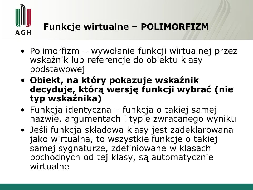 Funkcje wirtualne – POLIMORFIZM