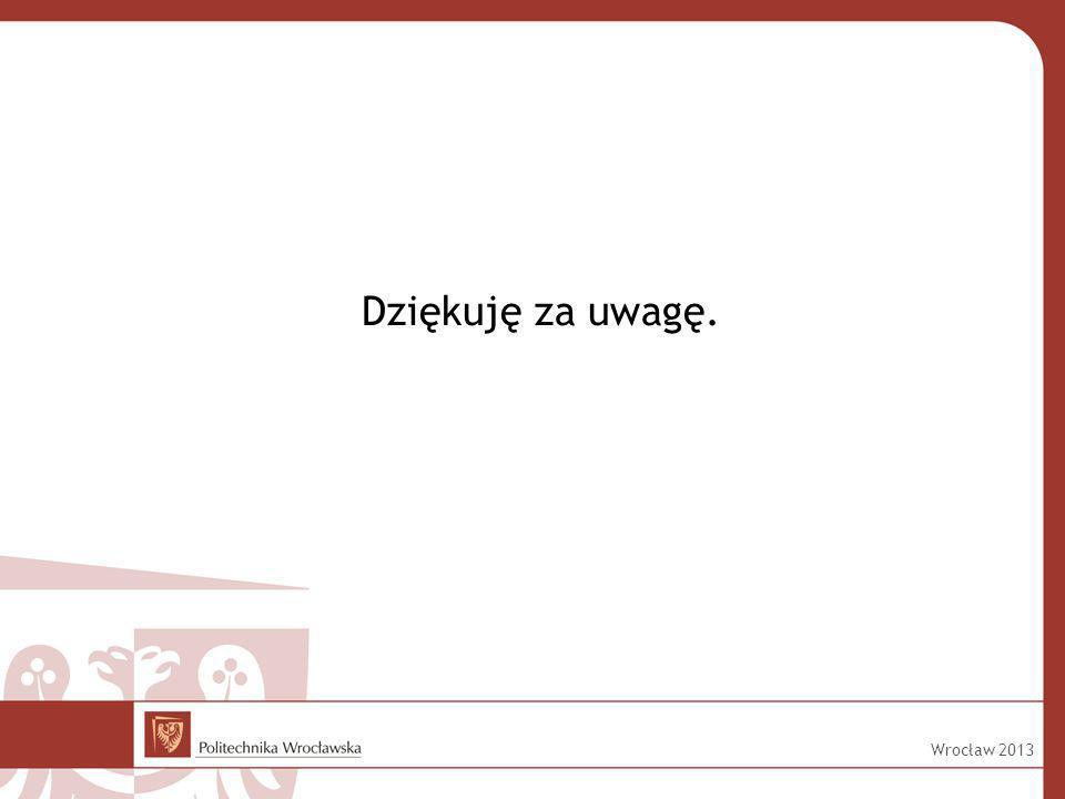 Dziękuję za uwagę. Wrocław 2013