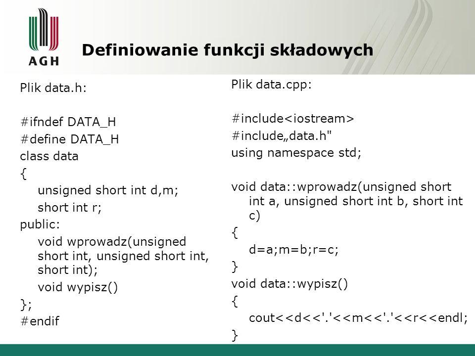 Definiowanie funkcji składowych