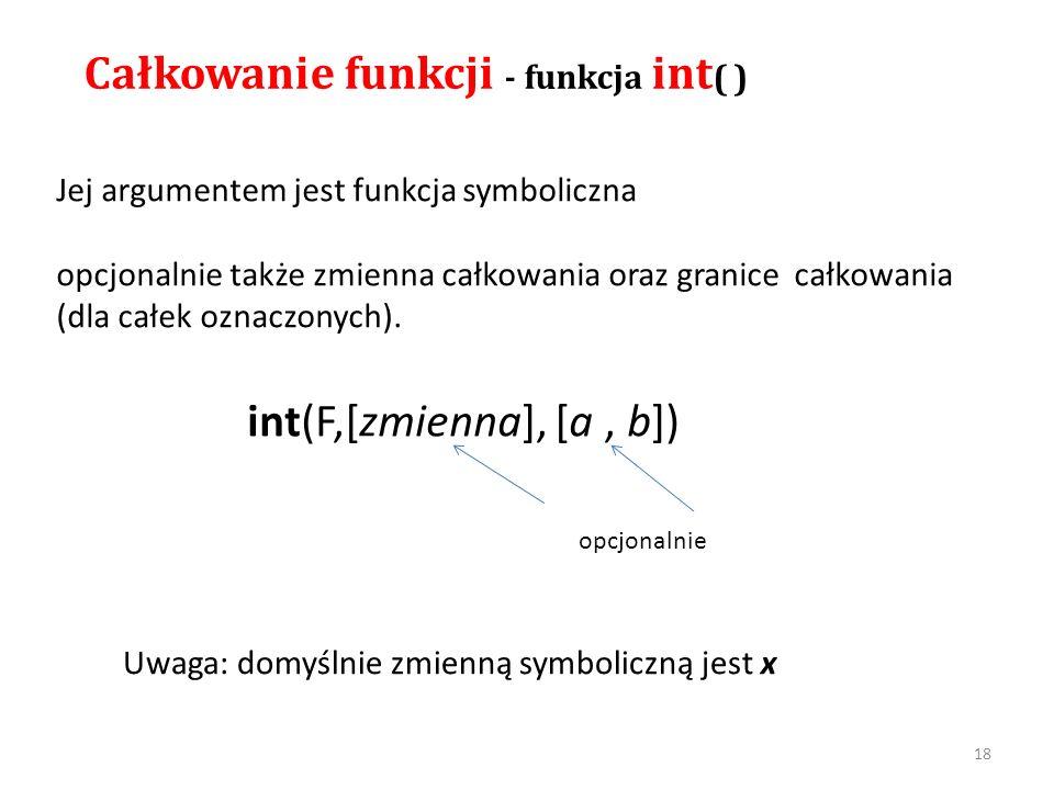 Całkowanie funkcji - funkcja int( )