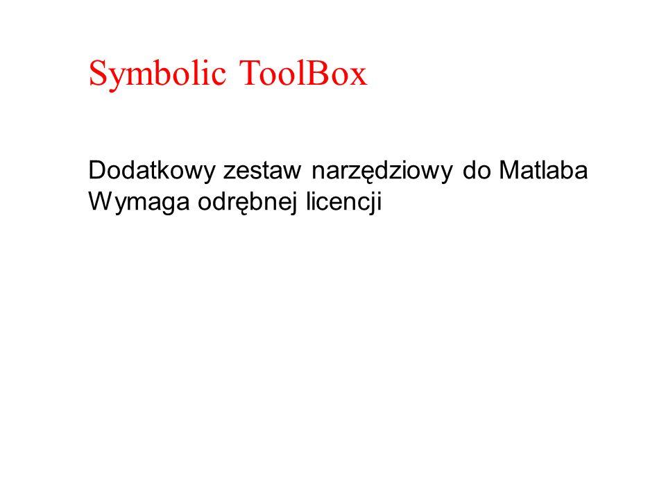 Symbolic ToolBox Dodatkowy zestaw narzędziowy do Matlaba