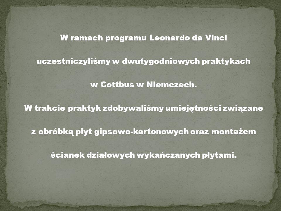 W ramach programu Leonardo da Vinci uczestniczyliśmy w dwutygodniowych praktykach