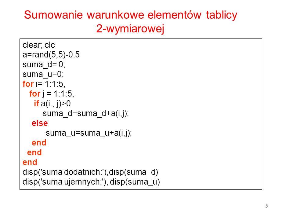 Sumowanie warunkowe elementów tablicy 2-wymiarowej