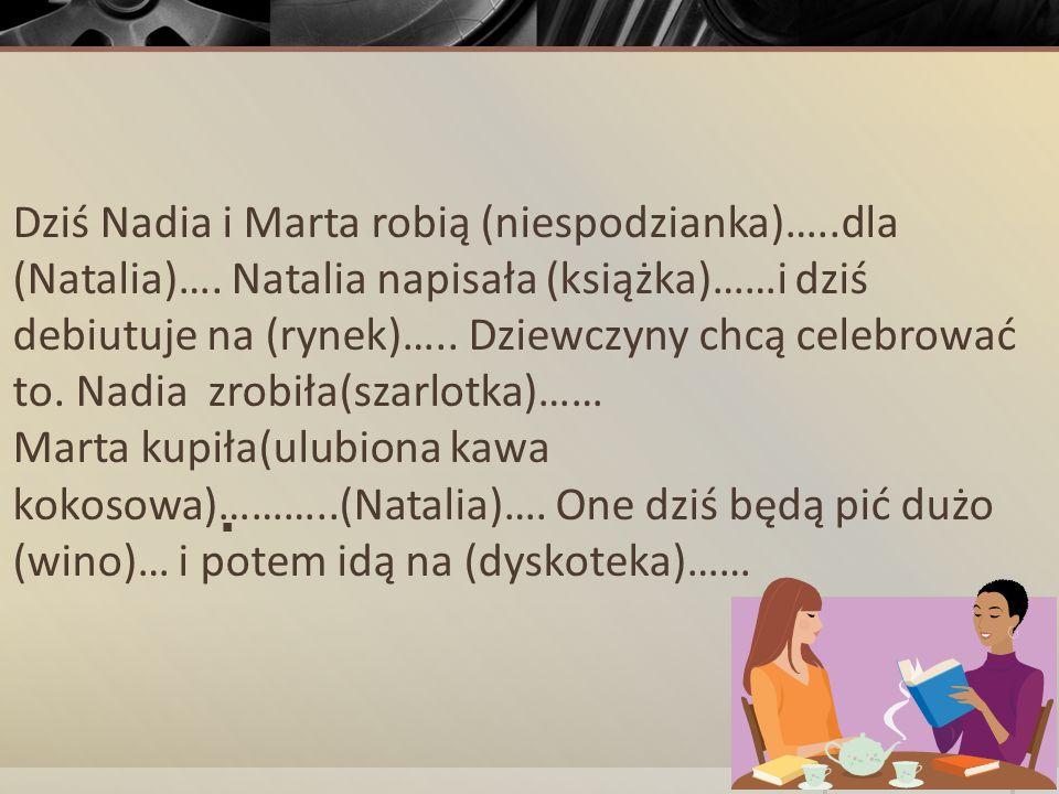 Dziś Nadia i Marta robią (niespodzianka)…. dla (Natalia)…