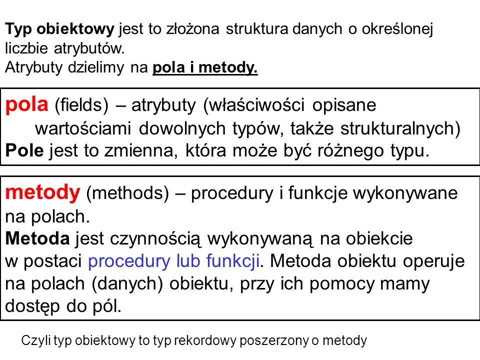 metody (methods) – procedury i funkcje wykonywane na polach.