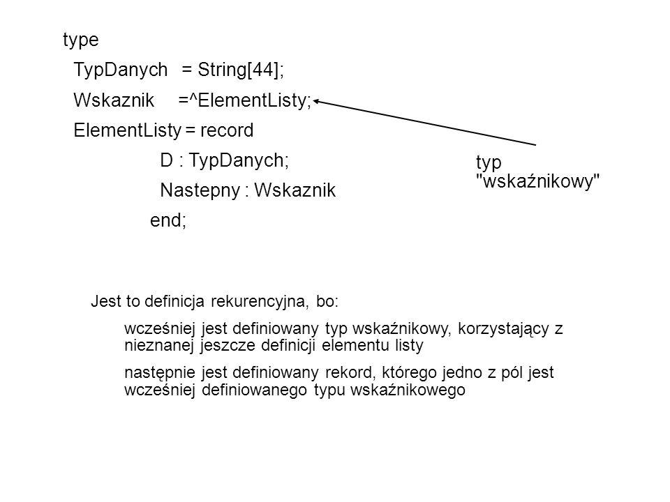 Wskaznik =^ElementListy; ElementListy = record D : TypDanych;